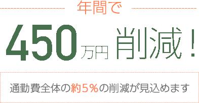 年間で450万円削減! 通勤費全体の約5%の削減が見込めます